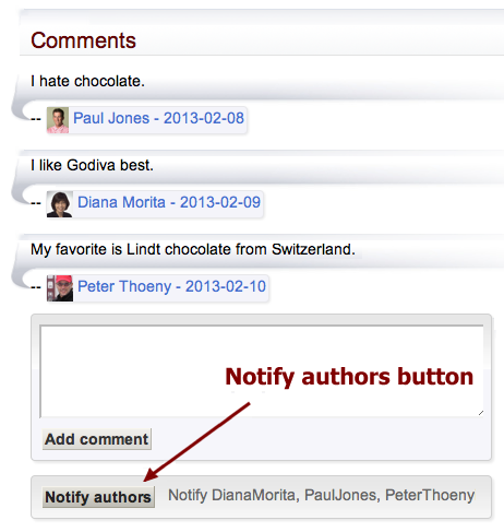 Notify authors discussion