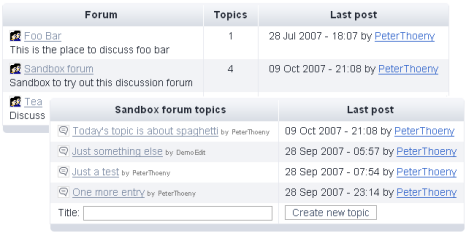 Screenshot of forums table and forum topics table